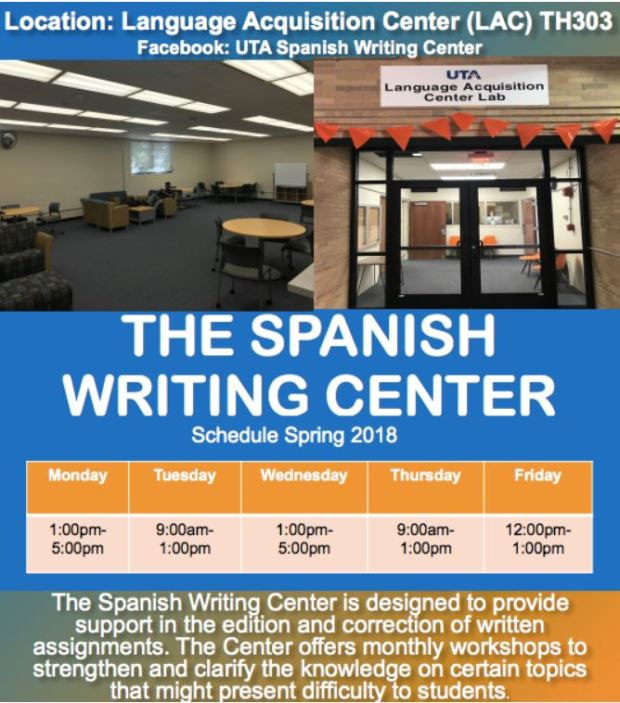 SPANISH WRITING CENTER - SPRING 2018 SCHEDULE