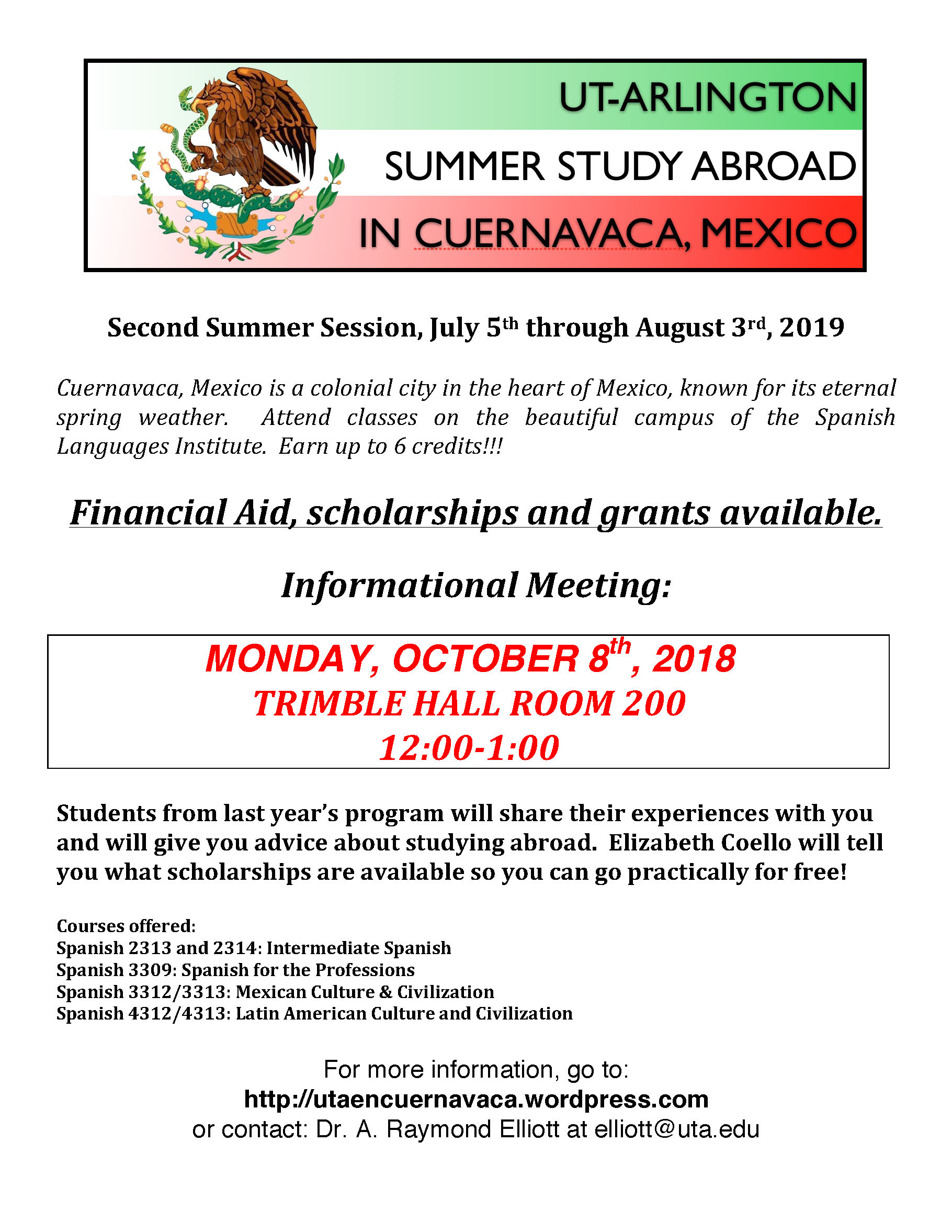 SUMMER STUDY ABROAD IN CUERNAVACA – Informational Meeting on